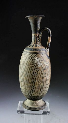 Unusually large Greek Apulian Pottery Net Lekythos - ca. 350 B.C.