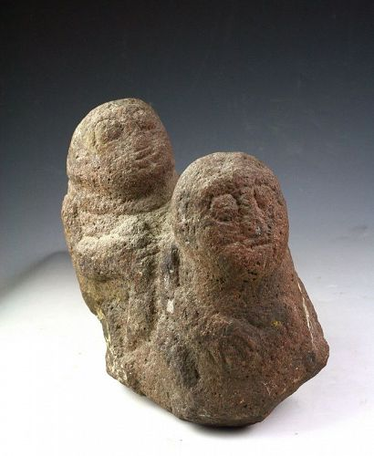 Rare ancient Indonesian erotic stone sculpture, pre 8th. century AD