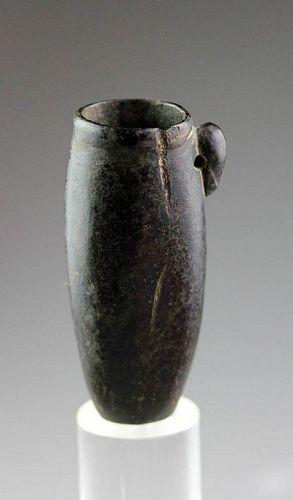 Elegant Egyptian black hardstone jar, Late Period!