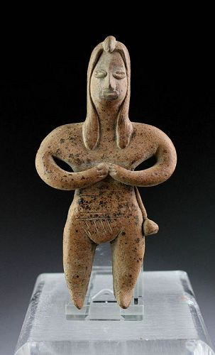 Ancient Pre Columbian Colima Pottery of naked Female, 200 BC