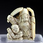 Large and superb 19th. century Japanese Netsuke carving!