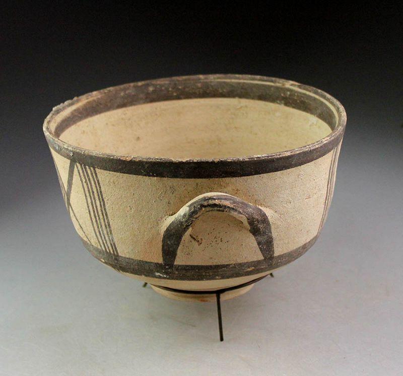 Large & superb Cypro-Geometric bichrome pottery bowl (Kylix)!