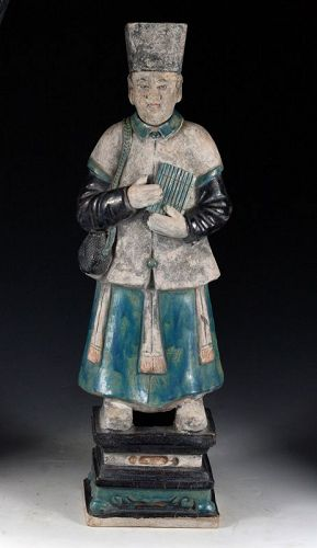 An XXL Chinese Pottery figure of  male Attendant, Ming Dynasty