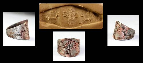 Museum Quality massive Middle Assyrian Empire Silver seal ring!