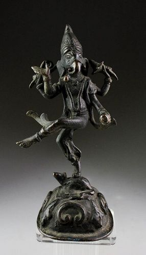 Choice antique  India bronze figure of Ganesha Dancing on a Rat!