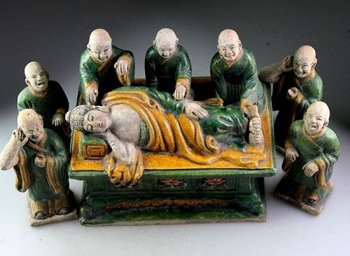 Important Ming Tomb pottery group of the Dying Buddha and Acolytes