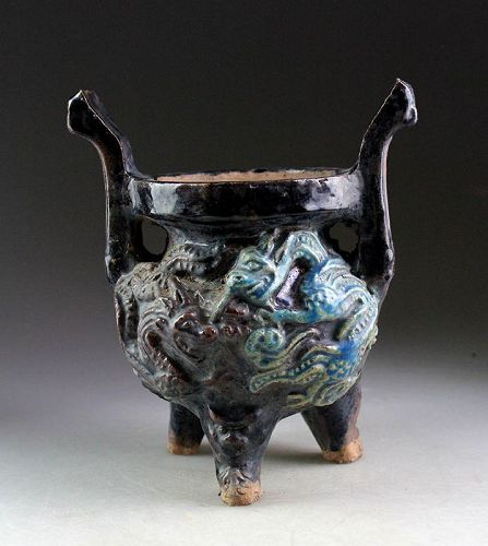 Rare Chinese glaced pottery Incense Burner, Ming Dynasty!