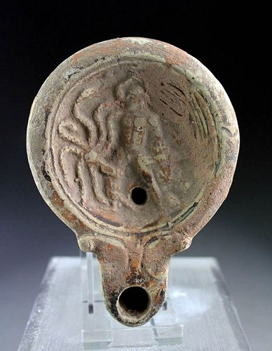 Extremely rare early Roman terracotta Oil Lamp, Hercules & Hydra!