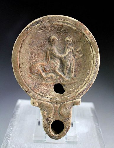 Roman pottery oil lamp: The Education of Achilles by Chiron!