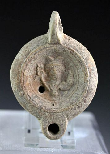 Superb Roman Terracotta Oil Lamp with Hermes and makers name!