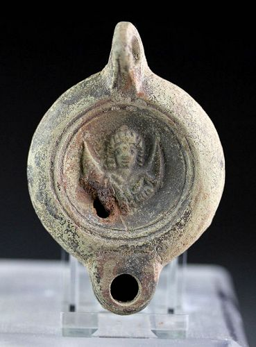 Rare Roman pottery lamp w makers mark and Juno on Crescent!