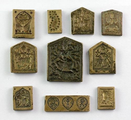 Beautiful collection of 10 Indian Hindu seals, ca. 19th. century!