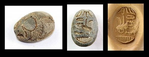 Unusual Steatite stone scarab, Egypt New Kingdom, 16th.-11th. cent BC