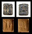 Rare Hittite Bifacial serpentinite stamp seal, 2nd. mill. BC