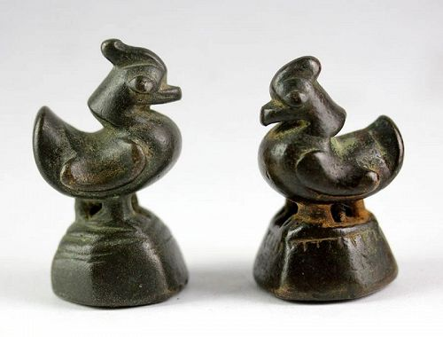 Set of two 10 Tical Opium Weight from Shan States, Hamsa ducks!