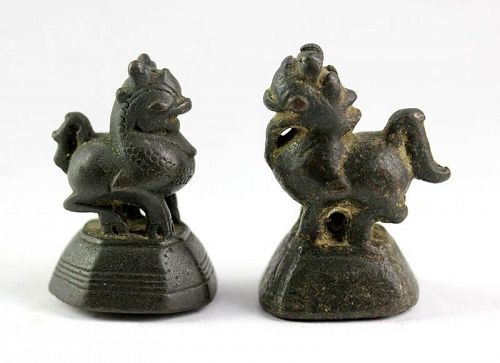 Fine set of two To / Chinthe bronze Opium Weights, 18th. century