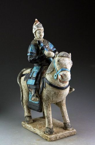 Wonderful Chinese Ming Dynasty Pottery Military Rider, 1368-1644!!