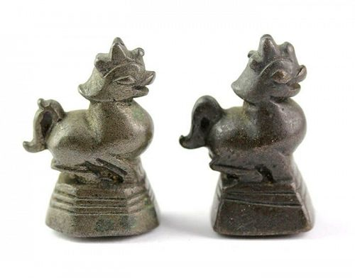 Pair of 2 Tical Burmese bronze Opium Weights, Beast type, 18th. cent