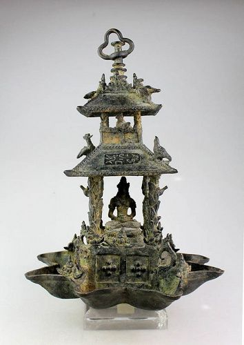 Indonesian bronze Temple Oil lamp for Buddha, c 13th.-15th. cent. AD