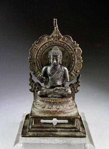 Rare Silver Buddha on a bronze Throne, 8th.-10th. century AD