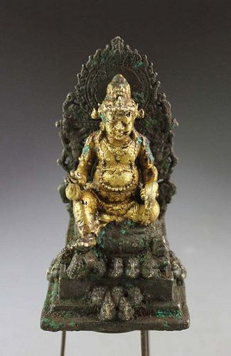 Rare Gold, silver & bronze figure of Kuvera, Javanese, ca. 10th. cent