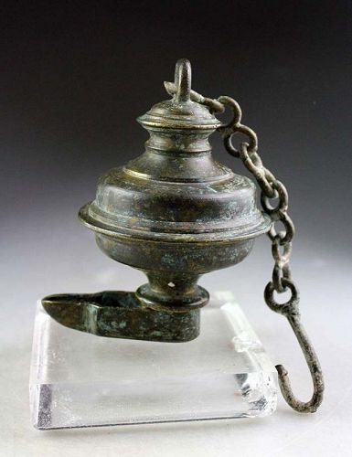 Rare Islamic or Hindu bronze Oil Lamp, 15th.-17th. century AD