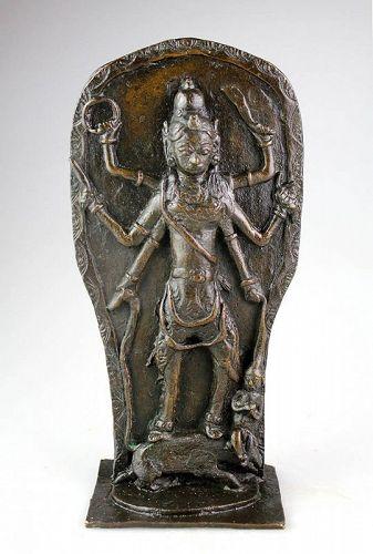 Rare massive Hindu bronze relief idol of Durgä slaying Demon Mahisa