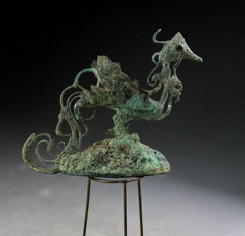 Bronze figure of a Peacock or Cock, Central Java, 9th. century!