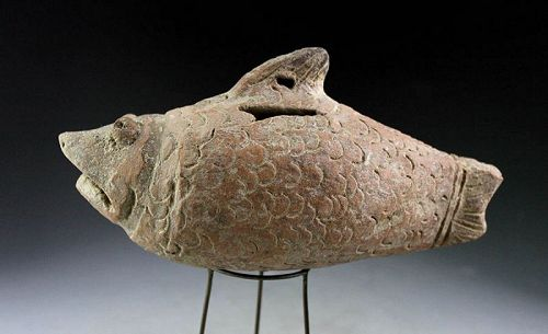 Rare Indonesian, Majapahit pottery bank in a fish form, ca. 14th. cent