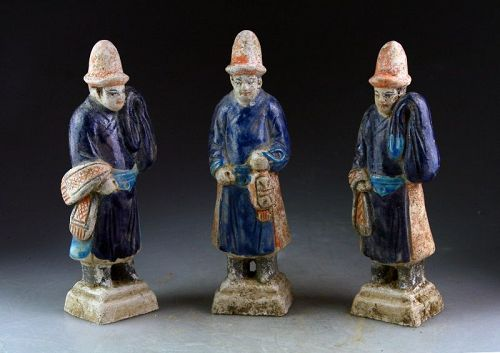 Set of 3 Chinese Ming Dynasty Tomb pottery attendants, 1368-1644