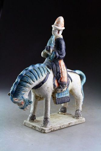 Chinese, Ming Dynasty Tomb pottery figure, musician on horseback