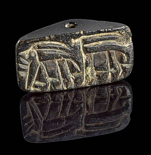 Museum quality Serpentine Gable stamp seal, 5th.-4th. mill. BC
