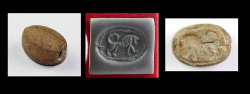 Achaemenid Scaraboid stone seal w. walking lion, 7th.-5th. cent.BC