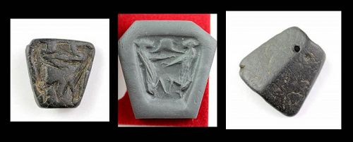 Mesopotamian Stamp seal with confronting monkeys, 4th. mill BC!