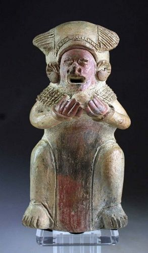 Rare ancient pottery figure of a standing Shaman, Jama Coaque!