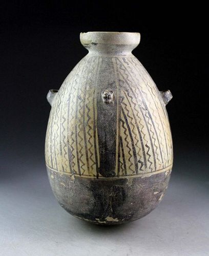 Pre-Columbian globular pottery jar, Chancay Peru, 1000-1400 AD.