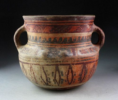 Exceptional two handle polychrome pottery jar, Peru, ca. 600-1000 AD