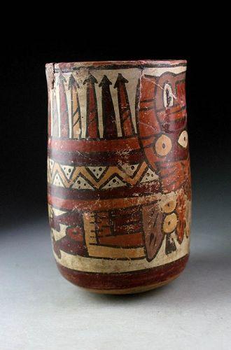 Large Cylinder pottery vessel, Nazca, Peru, ca. 200-400 AD