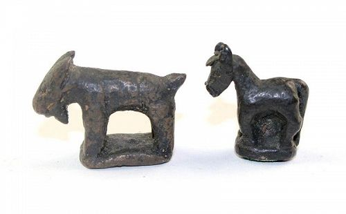 Pair of scarce Lanna or Laotian bronze opium Weights, 19th. cent