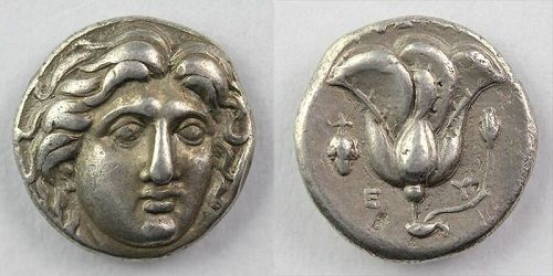 Choice Greek Rhodes silver didrachm, 305-275 BC - Near EF!