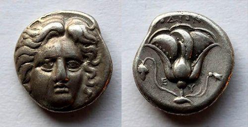 Fine Greek Rhodos silver Didrachm, 4th.-3th. century AD