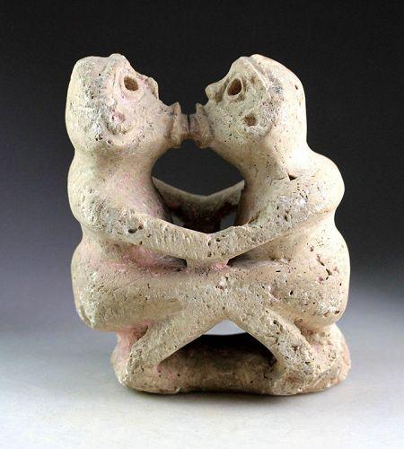 Extremely rare Pre-Columbian Taino Erotic white stone sculpture!
