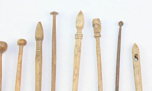 Collection of 13 carved hairpins and needles, Roman, 1st.-3rd. cent