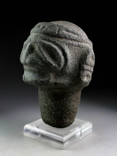 Rare carved stone head, Taino, Pre-Columbian 1000-1500 AD