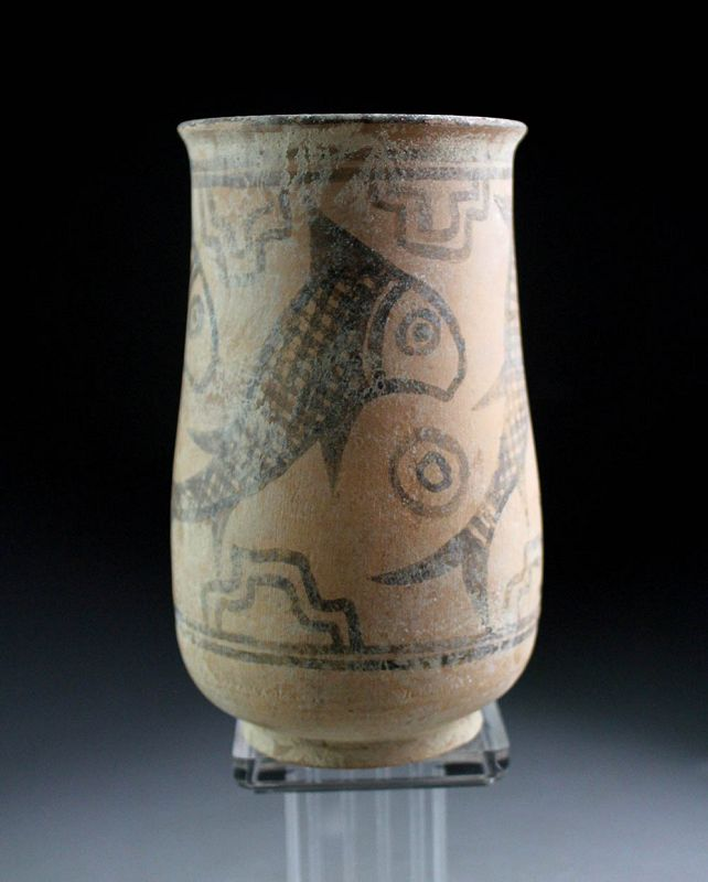 Fine larger Indus Valley pottery vase with fishes,  mid 3rd. mill BC