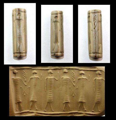 Rare tall Mitannian cream stone Cylinder seal, 15th.-14th. cent. BC