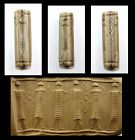 Rare tall Mitannian cream stone Cylinder seal, 15th.-14th. cent. BC