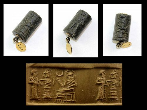 Old Babylonian cylinder seal with water god Enki / Ea, ca. 1800 BC