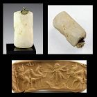 Rare massive Neo-Assyrian marble cylinder seal, with contest scene!