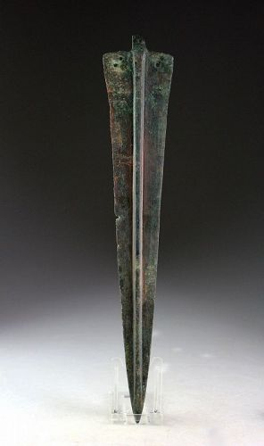 A pleasant large tanged bronze dagger, 2nd. millenium BC